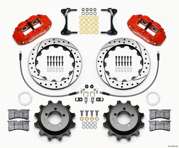 Wilwood Narrow Superlite 4R Rear Kit 12.88in Drilled Red 99-05 WRX / 99-07 Impreza