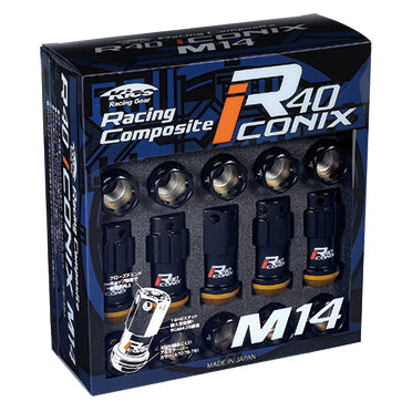 Project Kics R40 Iconix Lug Nuts Black/Black w/Locks - 14x1.25