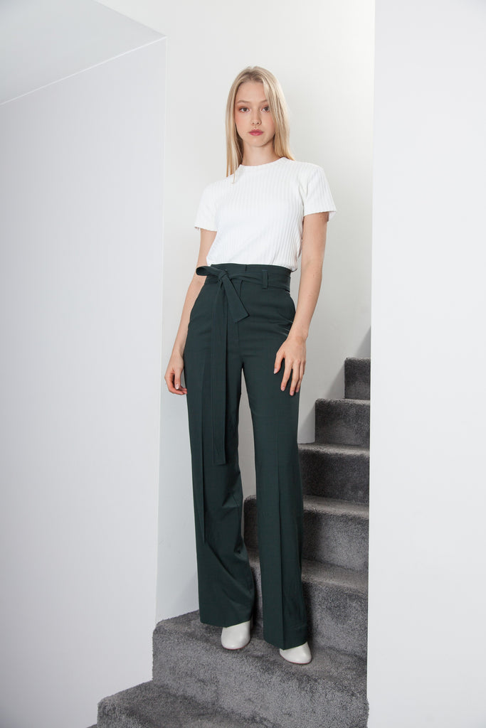 BELTED PANT FOREST GREEN