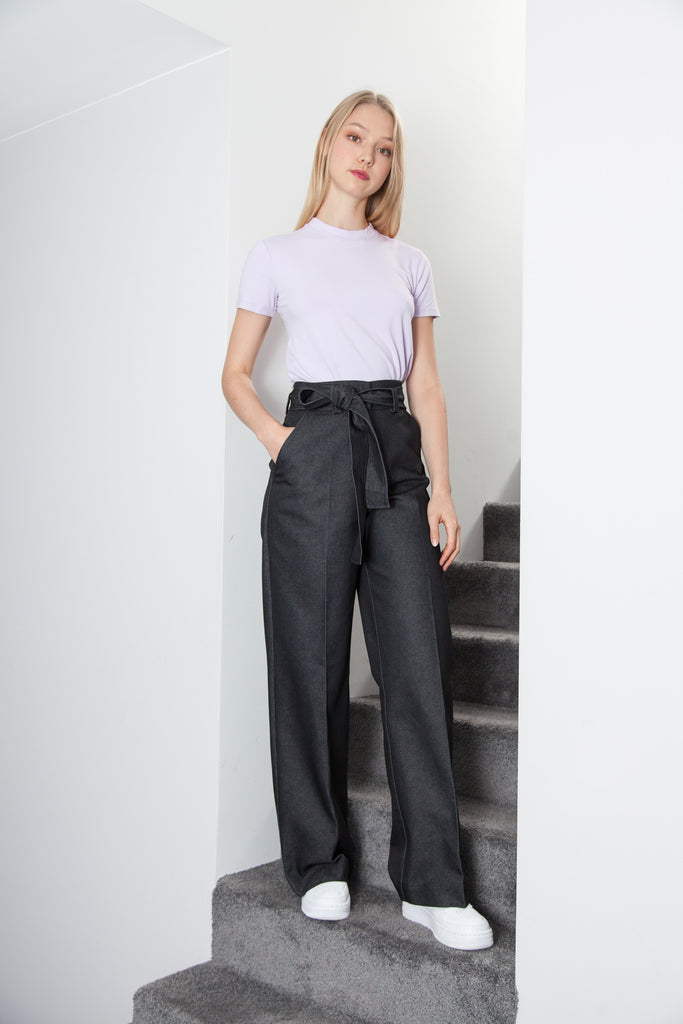 BELTED PANT NAVY DENIM