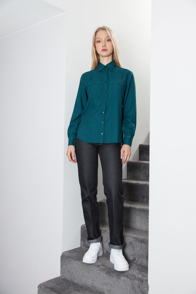 BOYFRIEND SHIRT EMERALD GREEN