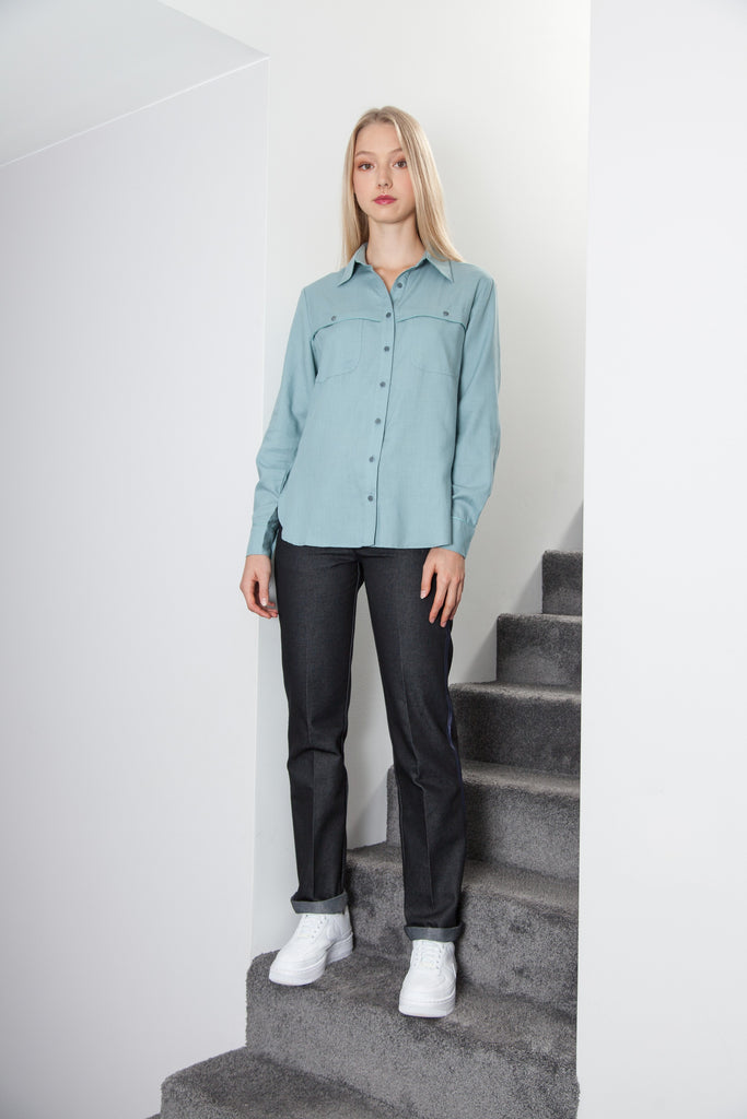 BOYFRIEND SHIRT MINERAL BLUE GREEN