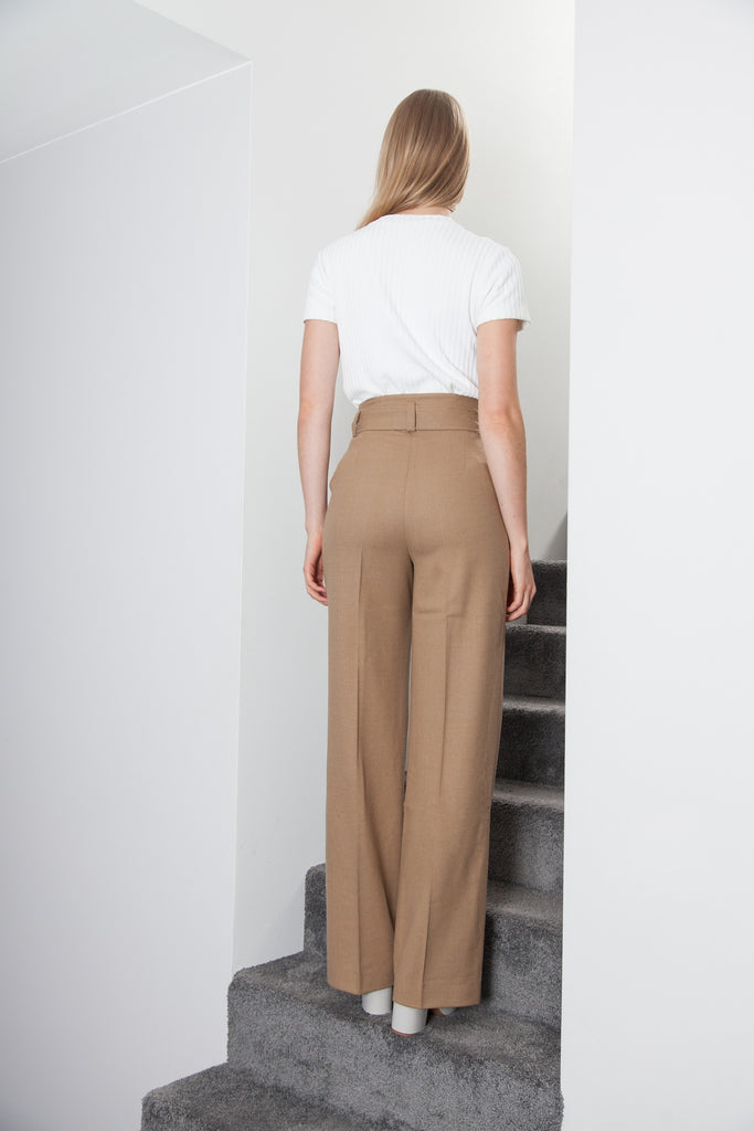 CASHMERE BELTED PANT SAND