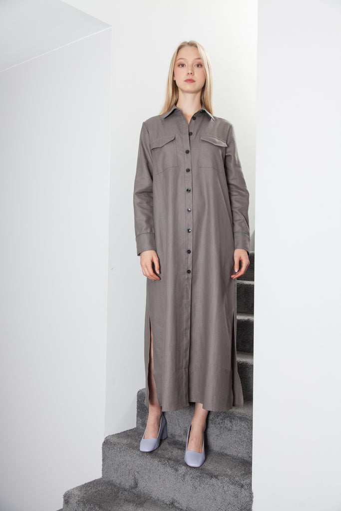 LONG BELTED DRESS ANTHRACITE GREY