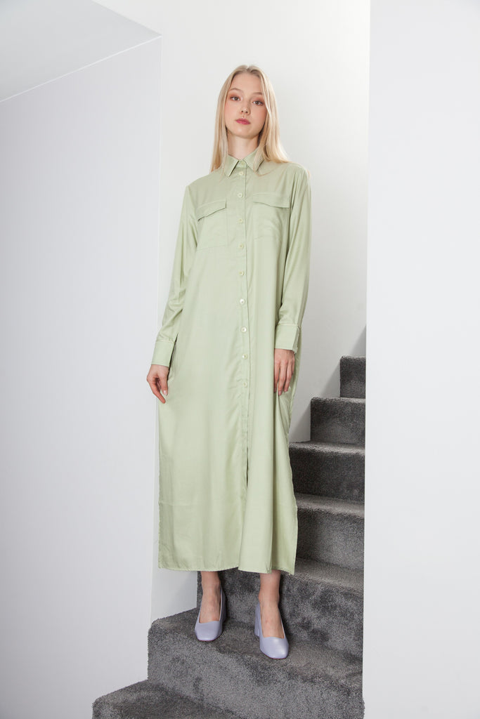 LONG BELTED DRESS PISTACHIO