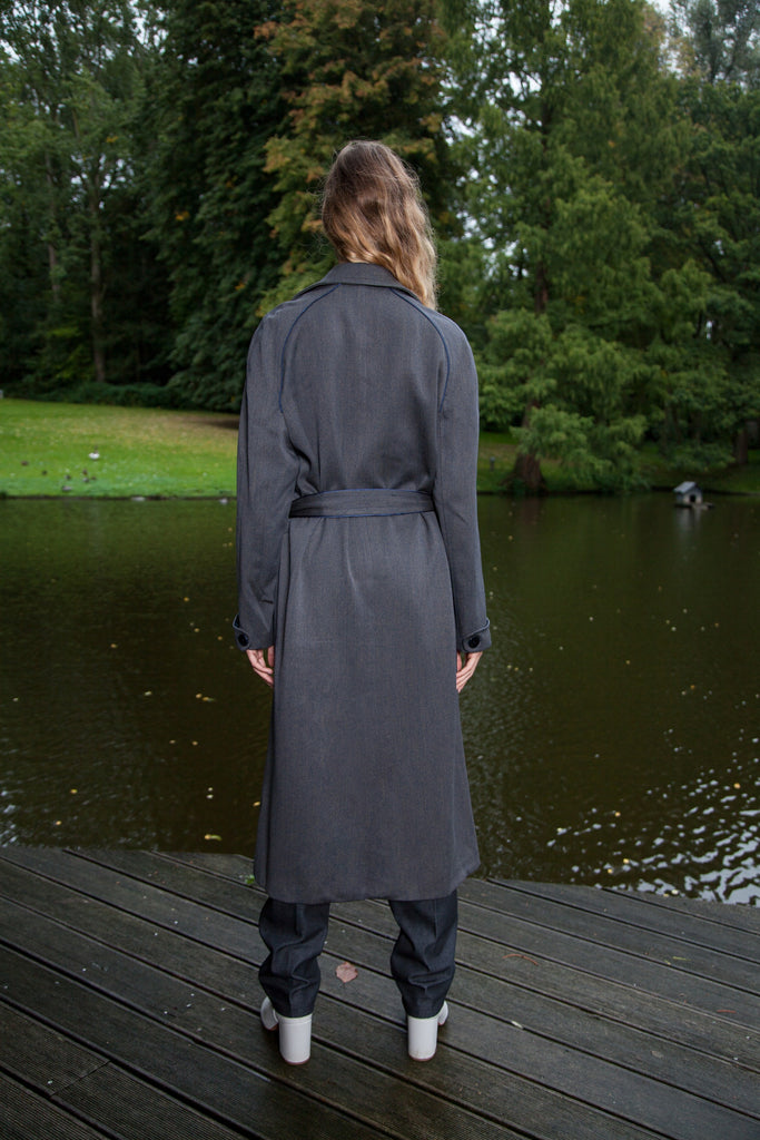 OVERSIZE LONG COAT NAVY GREY