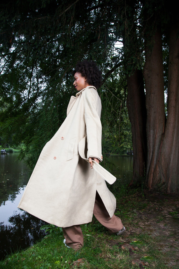 OVERSIZED LONG COAT CASHMERE GOLDEN SAND