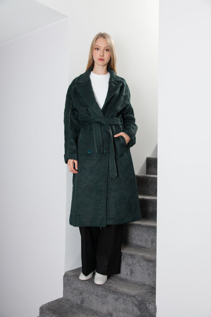 OVERSIZED LONG COAT WOOL/CASHEMIRE FOREST GREEN