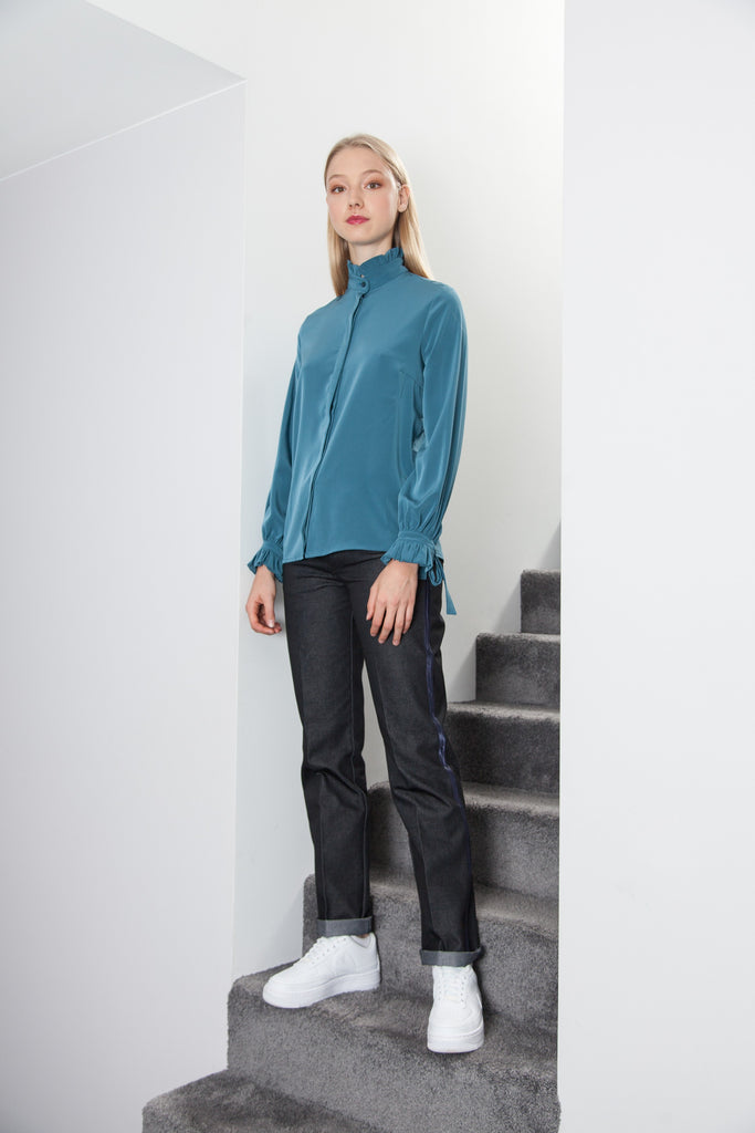 RUFFLE SHIRT COLVERT BLUE GREEN