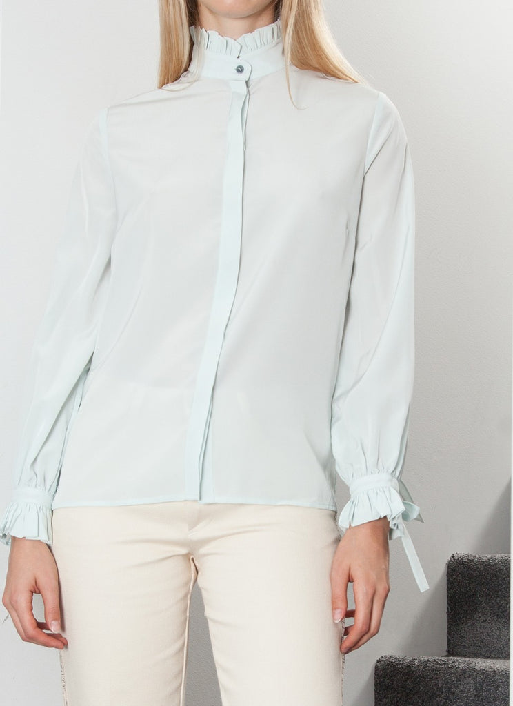 RUFFLE SHIRT LIGHT MINT GREEN