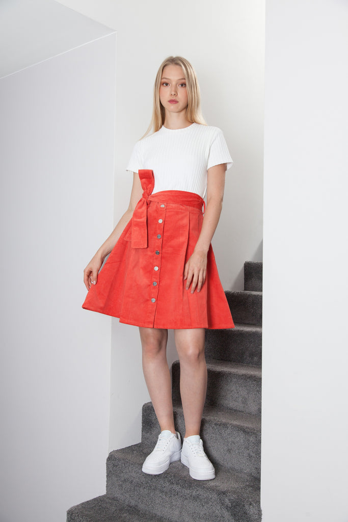 VELVET BUTTONED SKIRT SPICY ORANGE