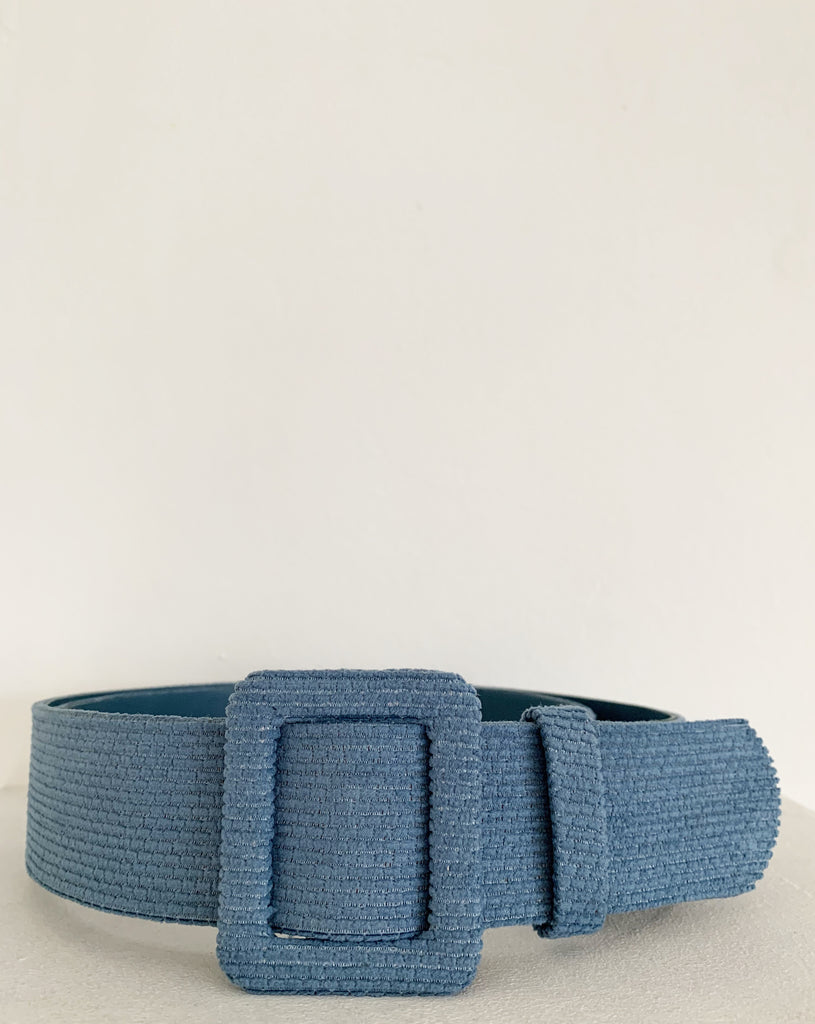 VELVET AND LEATHER BELT LAGOON BLUE