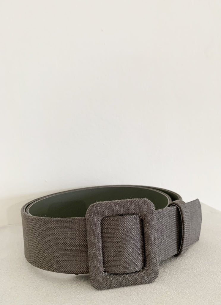 LEATHER BELT ANTHRACITE GREY