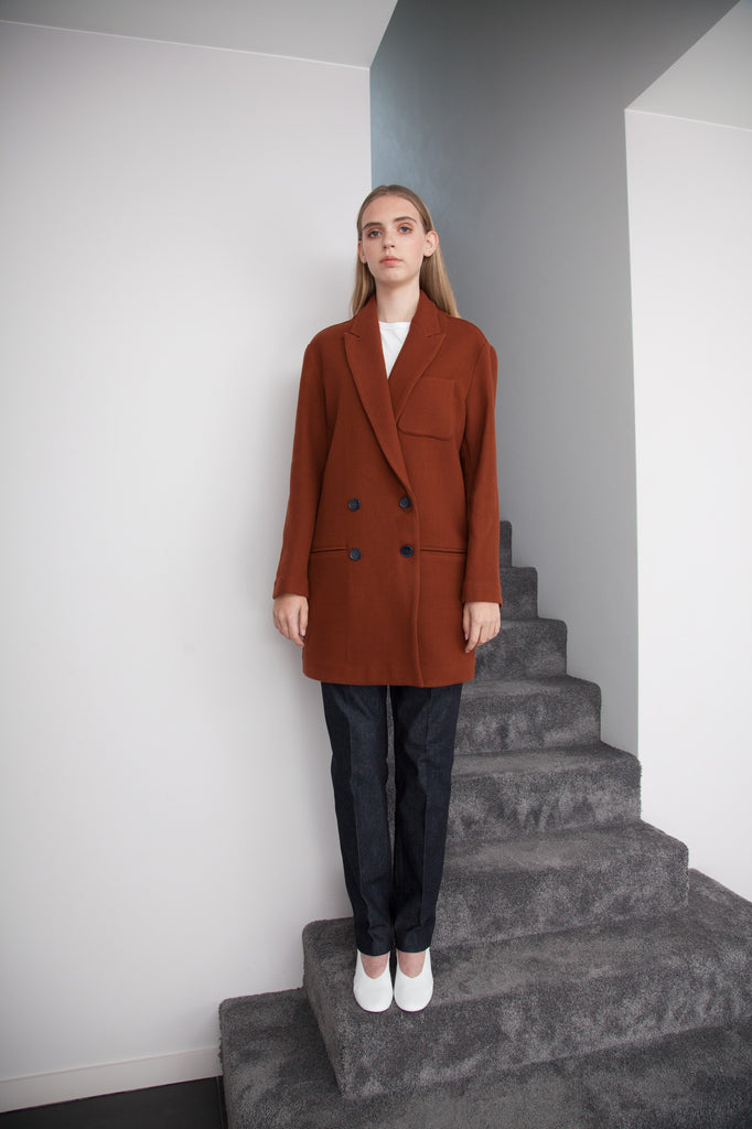 COCOON COAT RUST BROWN