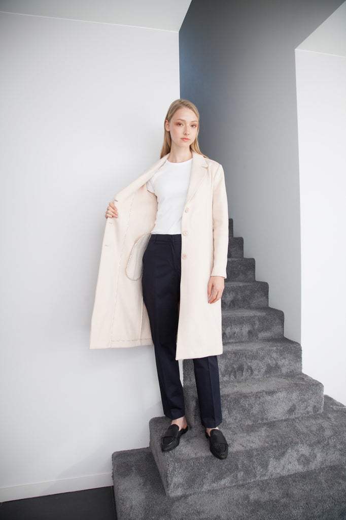 CASHMERE LONG COAT SOFT PINK