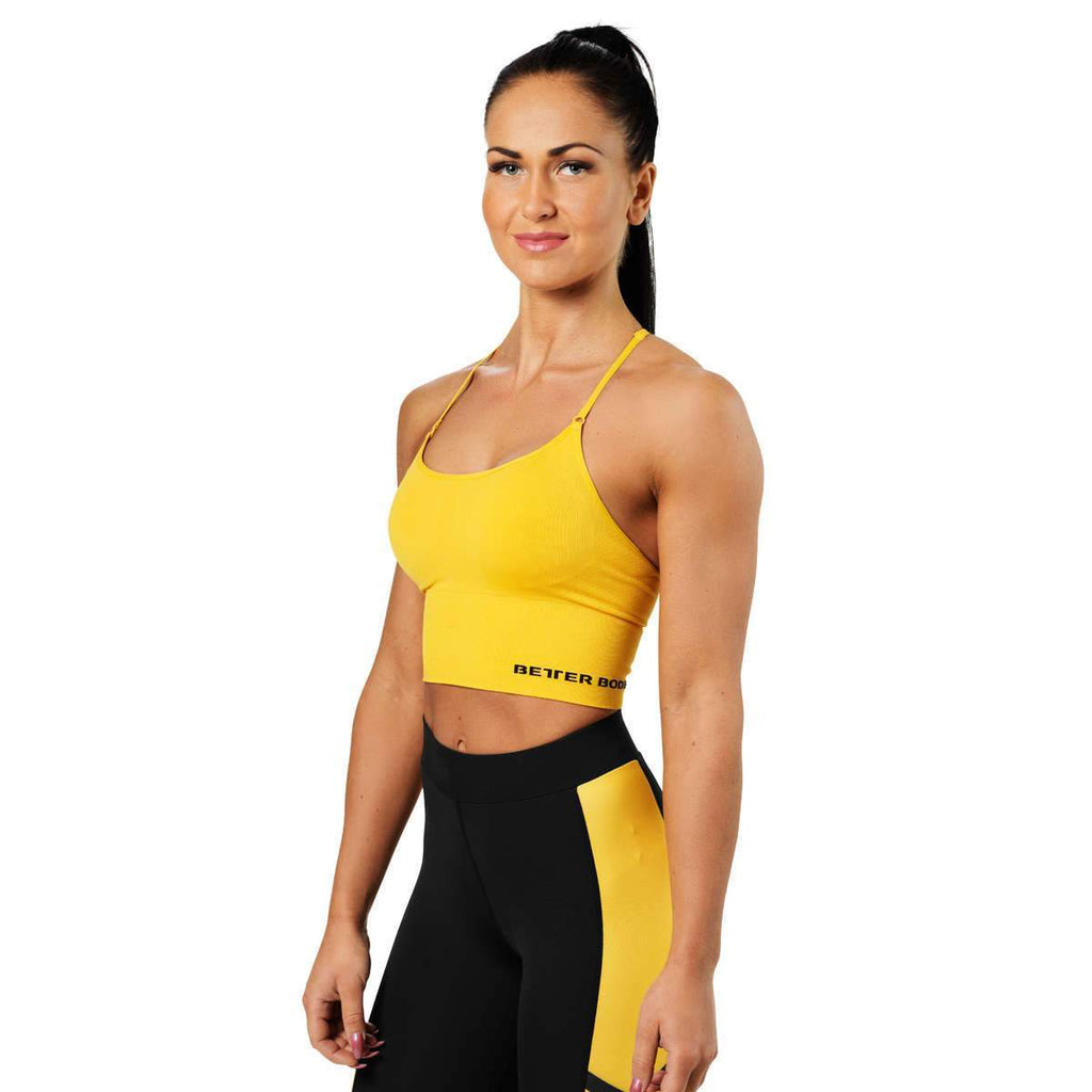 Better Bodies Astoria Seamless Cropped Short Top Bra, yellow