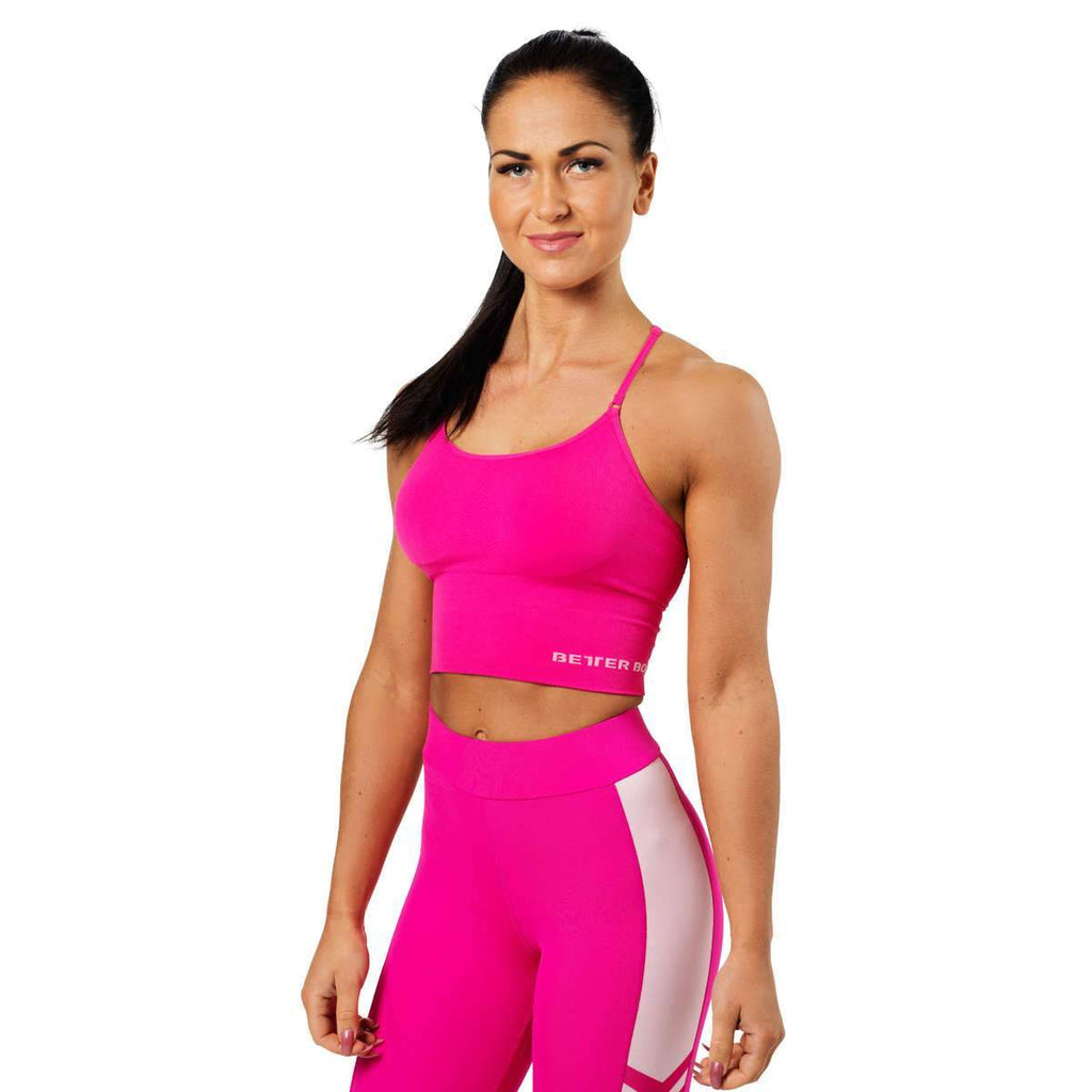 Better Bodies Astoria Seamless Cropped Short Top Bra, hot pink