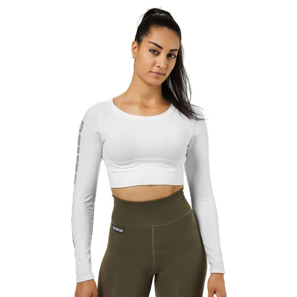 Better Bodies Bowery Cropped Long Sleeve Top white