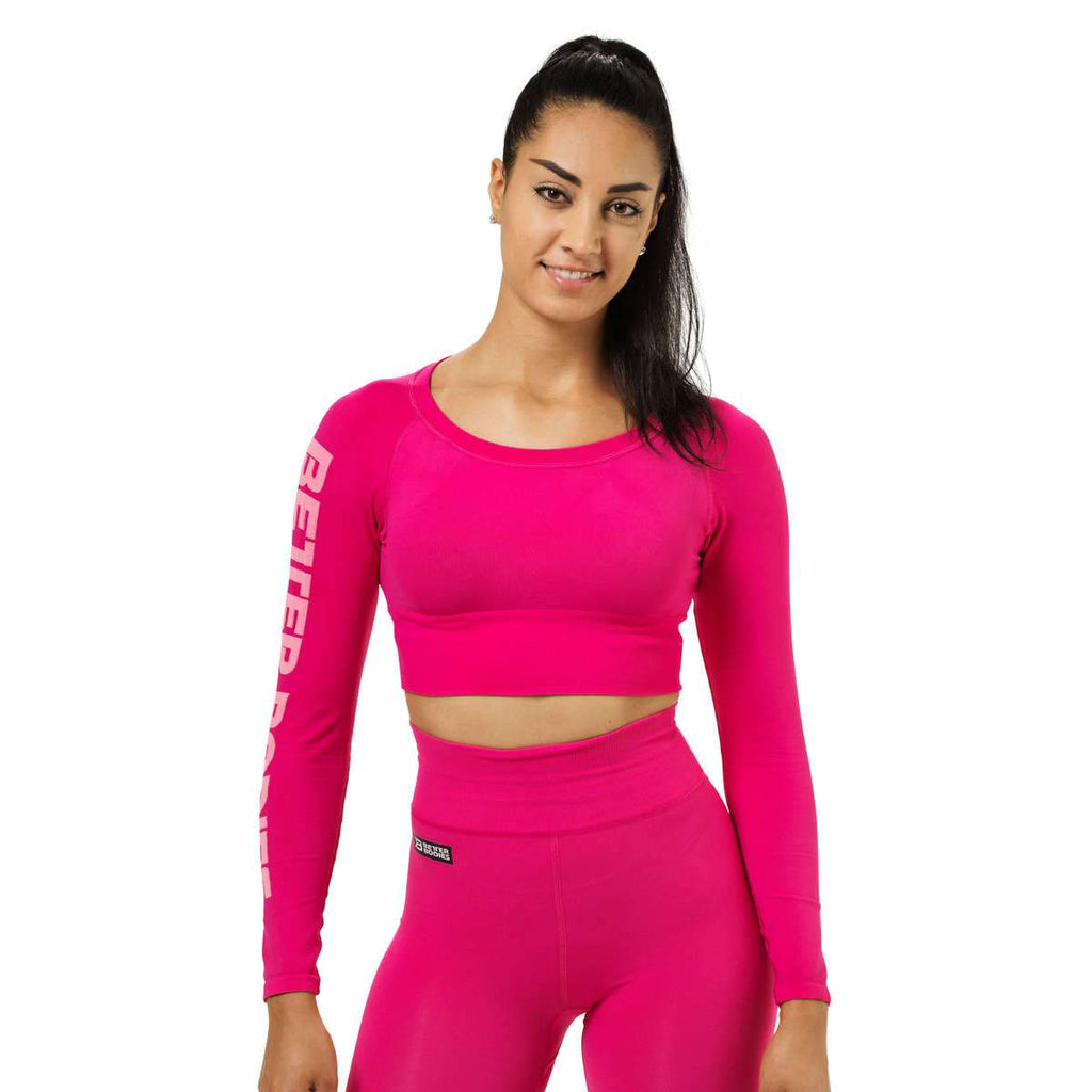 Better Bodies Bowery Cropped Long Sleeve Top hot pink