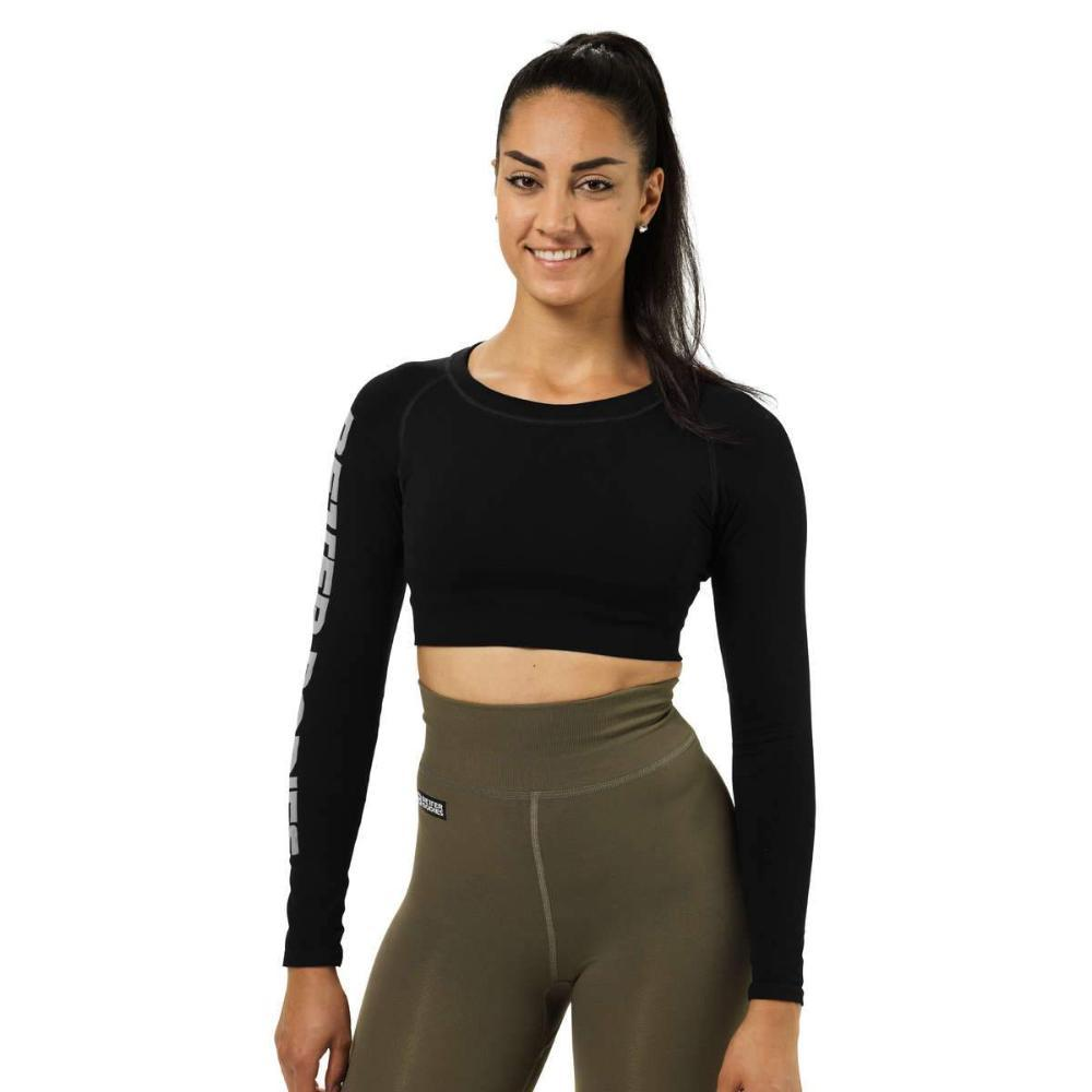 Better Bodies Bowery Cropped Long Sleeve Top black