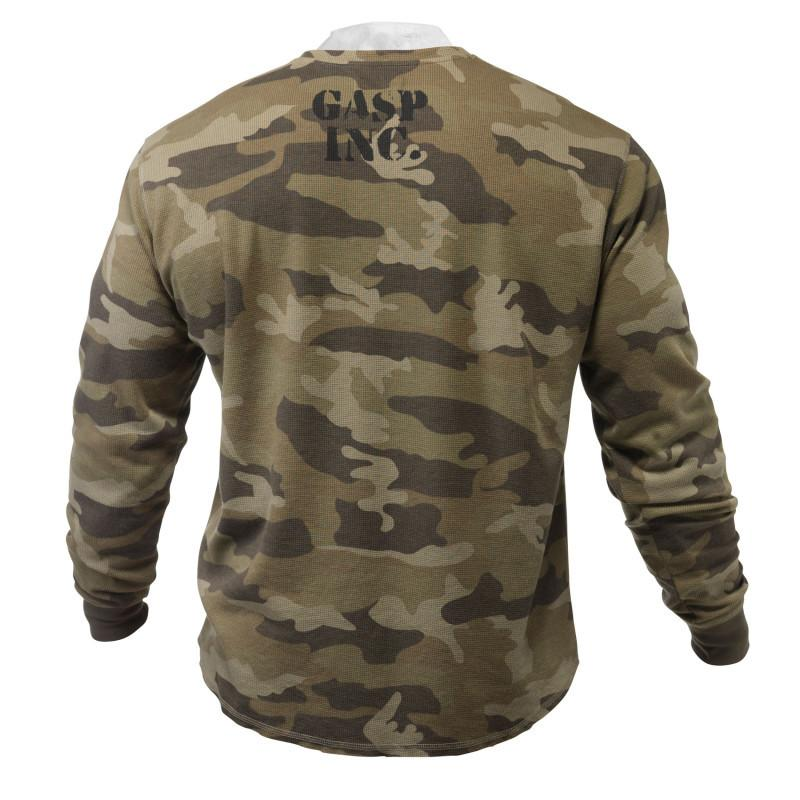 GASP THERMAL GYM SWEATER, CAMOUFLAGE PRINT