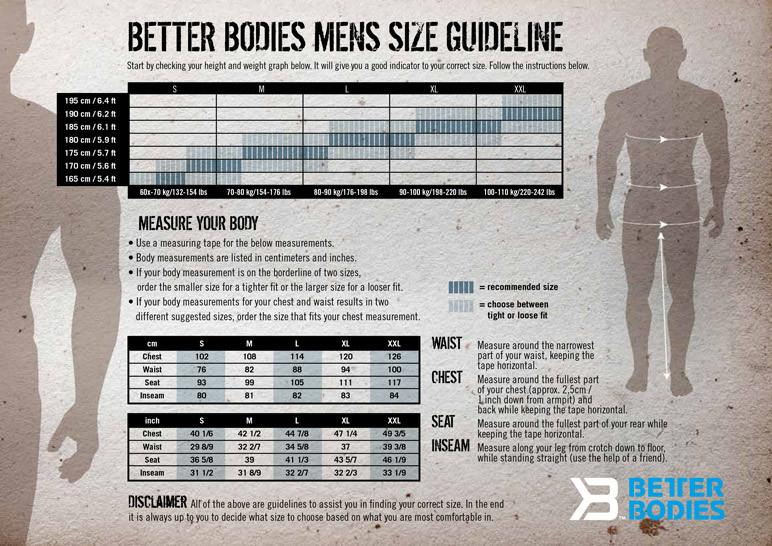 Better Bodies Men's Size Chart Elite1FitGear