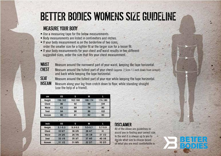 Better Bodies Size Charts Men and Women Elite1FitGear