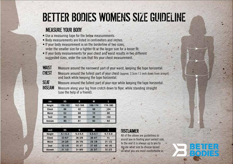 ELITE1FITGEAR | Better Bodies women's size chart