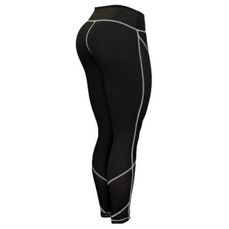 Six Deuce Black Mesh-Tech White Stitch Fitness Leggings