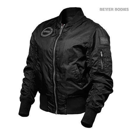 Women's Better Bodies Black Casual Bomber Jacket