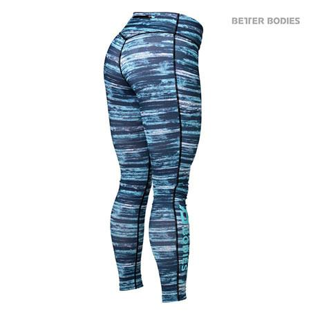 Better Bodies Printed Tights - Blue Black