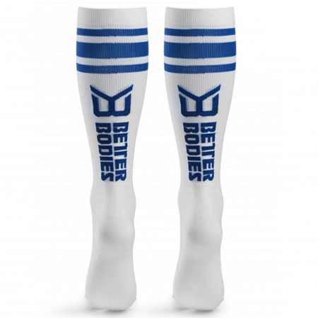 Better Bodies Knee Socks white and blue