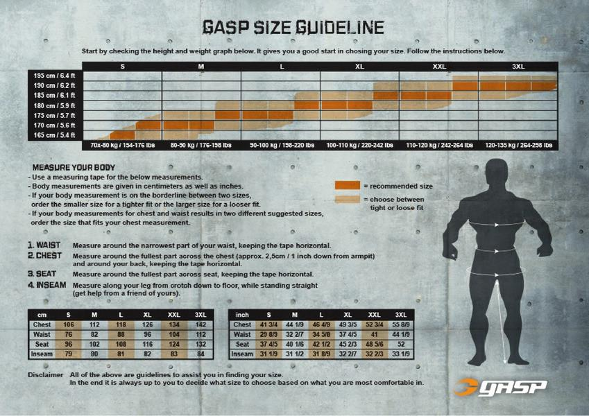 Elite1FitGear | GASP Size Chart