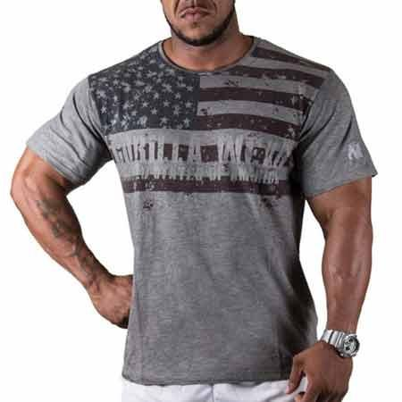 GorillaWear USA Flag Tee Gray