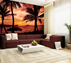 Papermoon Palmbeach at Dusk Vlies Fotobehang 350x260cm | Yourdecoration.be