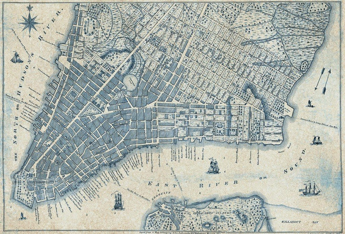 Wizard+Genius Old Vintage City Map New York Vlies Fotobehang 384x260cm 8-banen