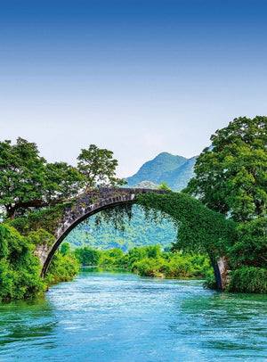 Wizard+Genius Bridge Crosses A River In China Vlies Fotobehang 192x260cm 4-banen | Yourdecoration.be
