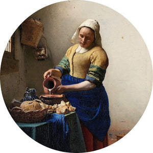 Wizard+Genius Vermeer The Milkmaid Vlies Fotobehang 140x140cm rond | Yourdecoration.be