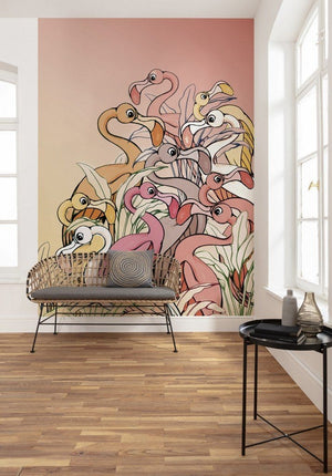 Komar Flamingos and Lillys Vlies Fotobehang 200x280cm 4-banen | Yourdecoration.be