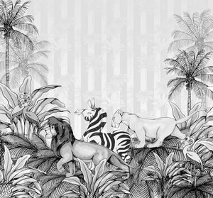 Komar Lion King Monochrome Vlies Fotobehang 300x280cm 6-banen | Yourdecoration.be