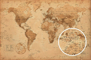 GBeye World Map Antique Style Poster 91,5x61cm | Yourdecoration.be