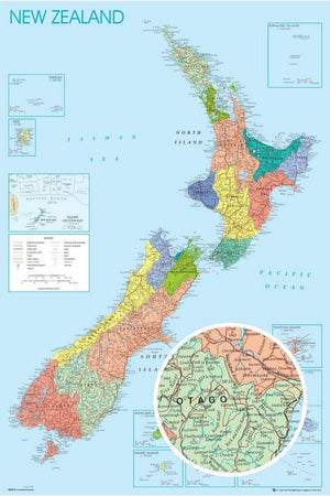 GBeye New Zealand Map Poster 61x91,5cm | Yourdecoration.be