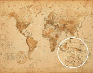 GBeye Worl Map Antique Style Poster 50x40cm | Yourdecoration.be