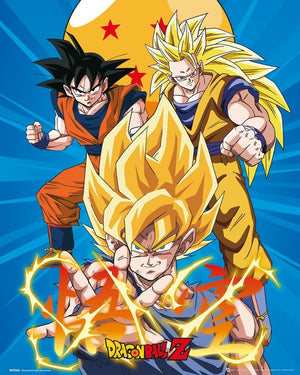 GBeye Dragon Ball Z 3 Gokus Poster 40x50cm | Yourdecoration.be