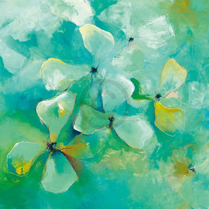 Anne L. Strunk - Floating Flowers Kunstdruk 98x98cm | Yourdecoration.be