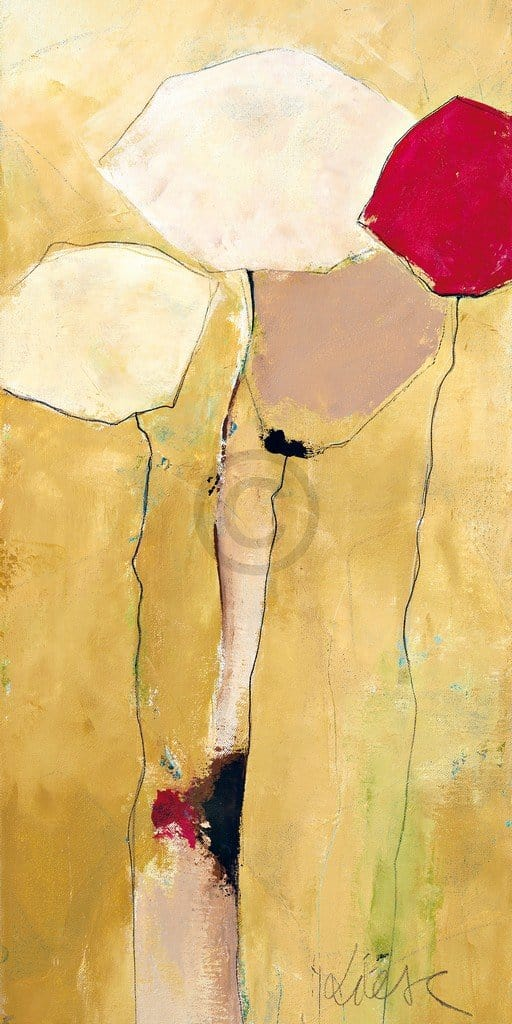 Anne L. Strunk - White flowers with red 2 Kunstdruk 50x100cm