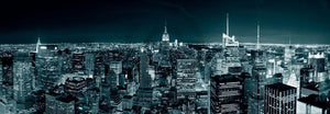 Shutterstock - Manhatten Skyline at Night Kunstdruk 95x33cm | Yourdecoration.be