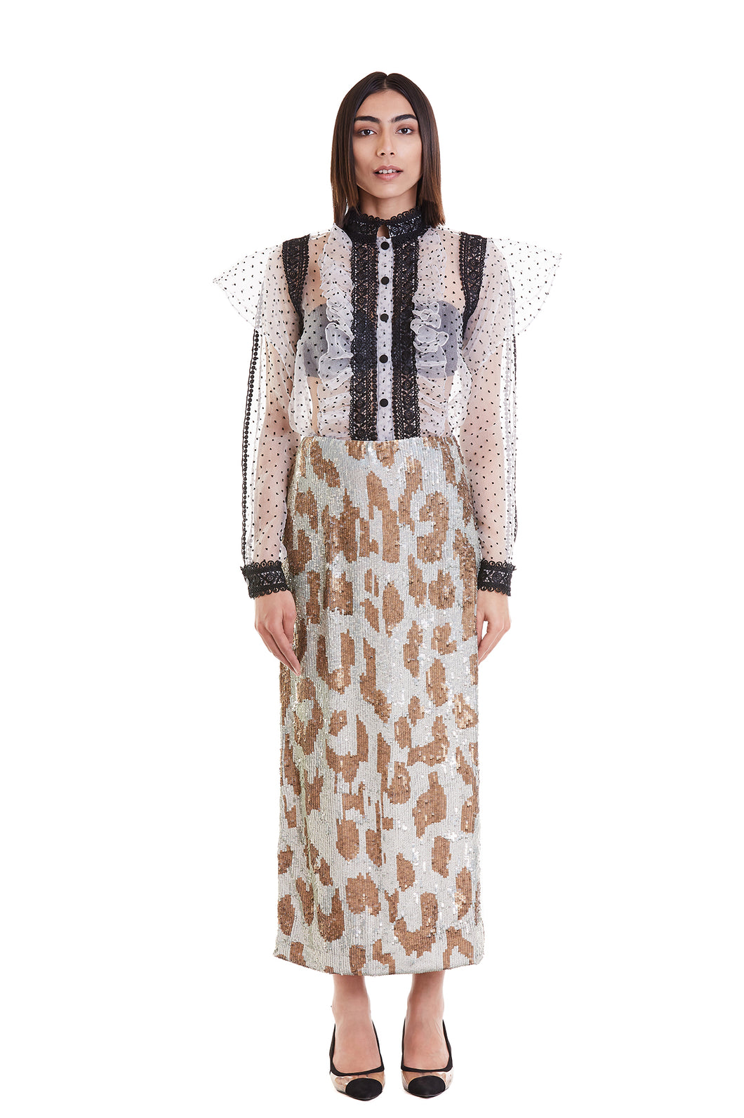 B&W Dotted Sheer Luxe Peasant