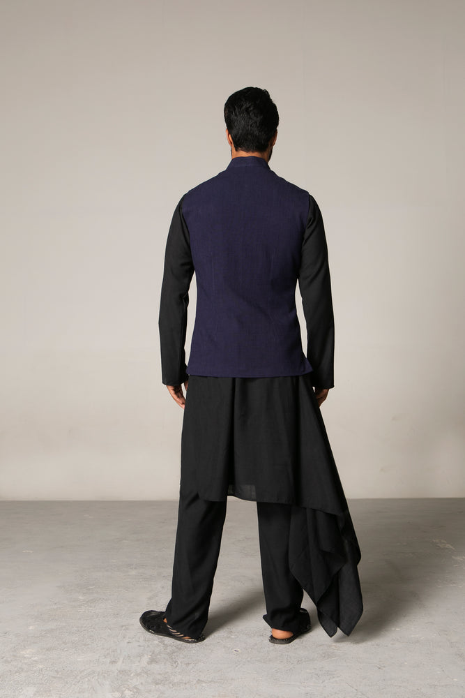 Metal Thread Bundi with Cascade Kurta Him