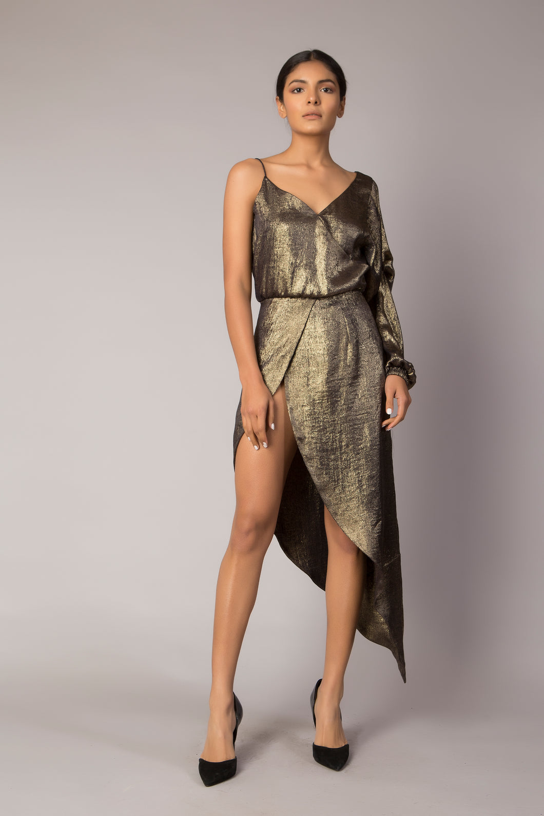 Liquid Gold Asymmetric Dress